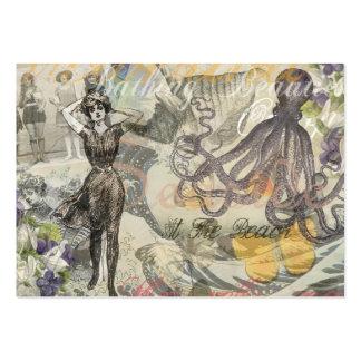 Pulpo del vintage y bellezas del baño plantilla de tarjeta de negocio