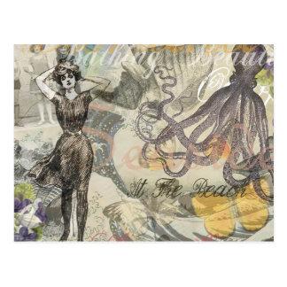 Pulpo del vintage y bellezas del baño tarjeta postal