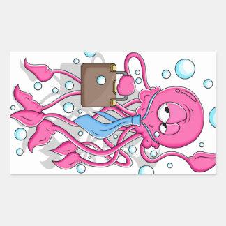 Pulpo divertido del dibujo animado rectangular pegatina