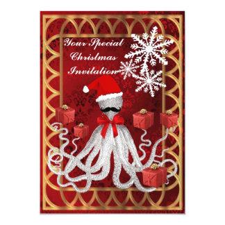"""Pulpo divertido del navidad en el damasco rojo invitación 5"""" x 7"""""""