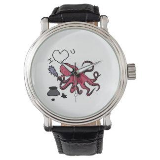 Pulpo divertido que expresa amor relojes