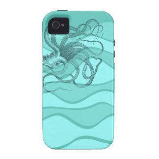 Pulpo en aguamarina y turquesa del trullo Case-Mate iPhone 4 fundas