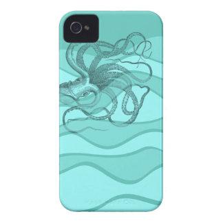 Pulpo en aguamarina y turquesa del trullo Case-Mate iPhone 4 funda