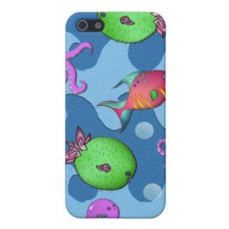 Pulpo feliz de la vida del océano iPhone 5 carcasas