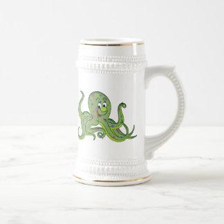 Pulpo floral verde taza de café