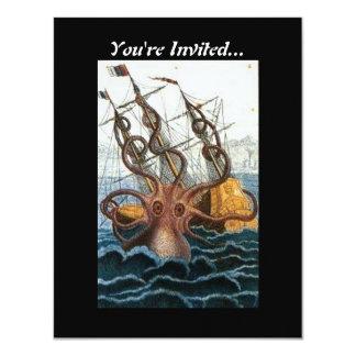 """Pulpo gigante de Kraken del Victorian del vintage Invitación 4.25"""" X 5.5"""""""