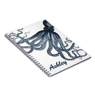 Pulpo gigante Steampunk de los azules marinos Note Book