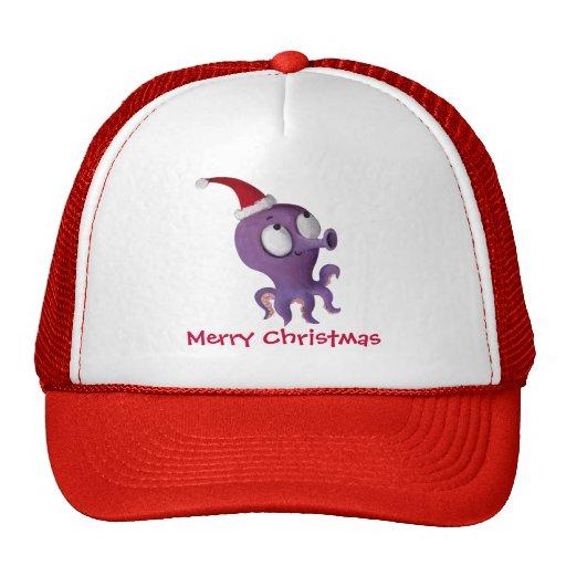 Pulpo lindo del navidad gorras de camionero