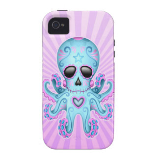 Pulpo lindo del zombi del cráneo del azúcar - púrp Case-Mate iPhone 4 fundas