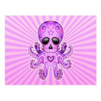 Pulpo lindo del zombi del cráneo del azúcar - púrp tarjetas postales
