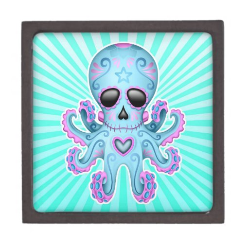 Pulpo lindo del zombi del cráneo del azúcar - rosa caja de regalo de calidad