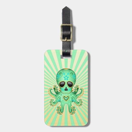 Pulpo lindo del zombi del cráneo del azúcar - verd etiqueta de maleta