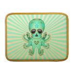 Pulpo lindo del zombi del cráneo del azúcar - verd fundas macbook air