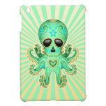 Pulpo lindo del zombi del cráneo del azúcar - verd iPad mini protectores