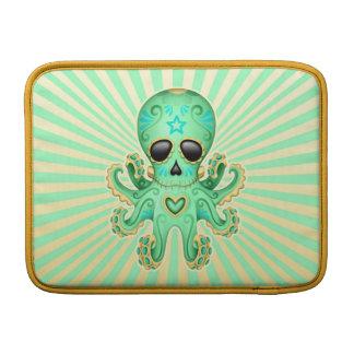Pulpo lindo del zombi del cráneo del azúcar - verd fundas MacBook