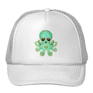 Pulpo lindo del zombi del cráneo del azúcar - verd gorro