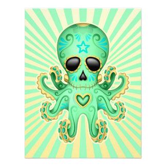 Pulpo lindo del zombi del cráneo del azúcar - verd comunicado personal
