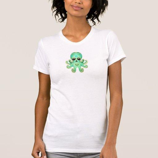 Pulpo lindo del zombi del cráneo del azúcar - verd camisetas