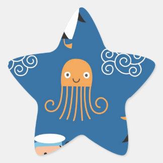 Pulpo marino del modelo de onda de la tortuga del pegatina en forma de estrella