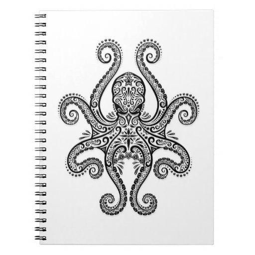 Pulpo negro complejo en blanco libros de apuntes con espiral
