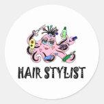 Pulpo negro y rosado del estilista etiquetas redondas