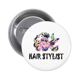 Pulpo negro y rosado del estilista pin redondo 5 cm