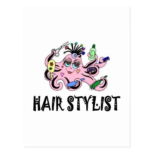 Pulpo negro y rosado del estilista tarjetas postales