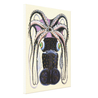 Pulpo o calamar gigante, animal del vintage de la lienzo envuelto para galerías