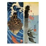 Pulpo, pescado rojo de Utagawa Kuniyoshi Postales