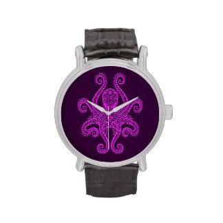 Pulpo púrpura complejo relojes de pulsera