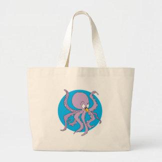 pulpo púrpura divertido bolsas de mano