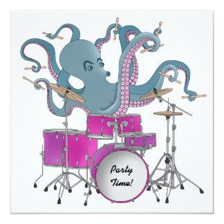 Pulpo que juega los tambores - invitación del