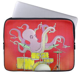 Pulpo que juega los tambores - manga roja del fundas portátiles
