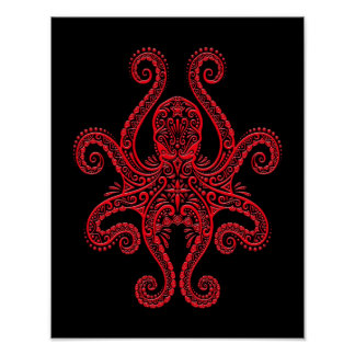 Pulpo rojo complejo en negro posters