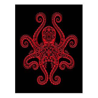Pulpo rojo complejo en negro postales