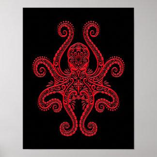 Pulpo rojo complejo en negro póster