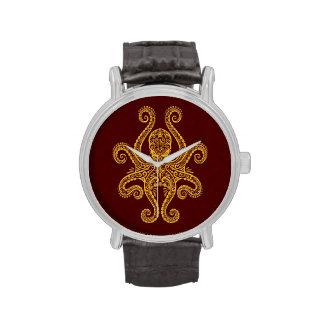Pulpo rojo de oro complejo reloj de mano