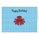 Pulpo rojo del argyle en burbujas azules tarjeta