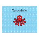 Pulpo rojo del argyle en burbujas azules tarjetas postales