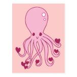 Pulpo rosado del amor postal
