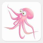 Pulpo rosado del dibujo animado calcomania cuadradas personalizadas