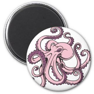 Pulpo rosado imán redondo 5 cm