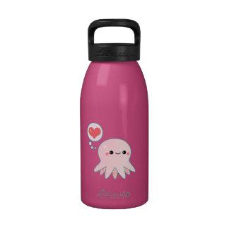 Pulpo rosado lindo botella de beber