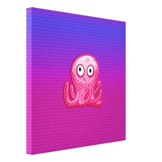 Pulpo rosado y púrpura lindo de moda lienzo envuelto para galerías
