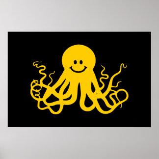 Pulpo/smiley amarillo de Kraken Posters