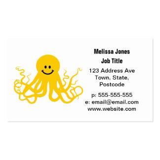 Pulpo/smiley amarillo de Kraken Tarjetas De Visita