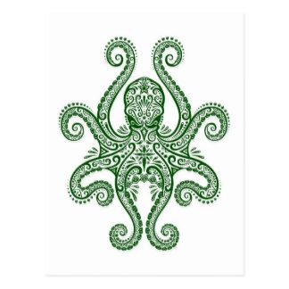 Pulpo verde complejo en blanco postales