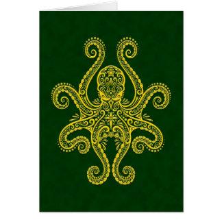 Pulpo verde de oro complejo tarjeta de felicitación