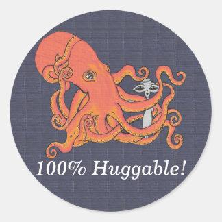 Pulpo y amigo extranjero el 100% Huggable Pegatina Redonda