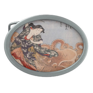 Pulpo y guerrero - Kuniyoshi Hebilla De Cinturon Oval